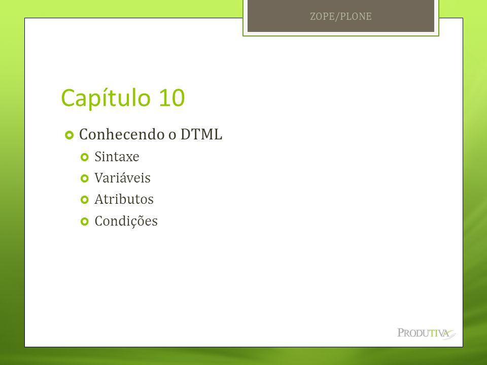 Capítulo 10 Conhecendo o DTML Sintaxe Variáveis Atributos Condições