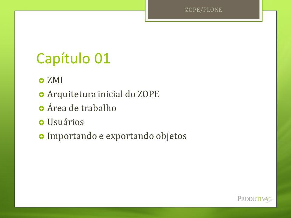 Capítulo 01 ZMI Arquitetura inicial do ZOPE Área de trabalho Usuários