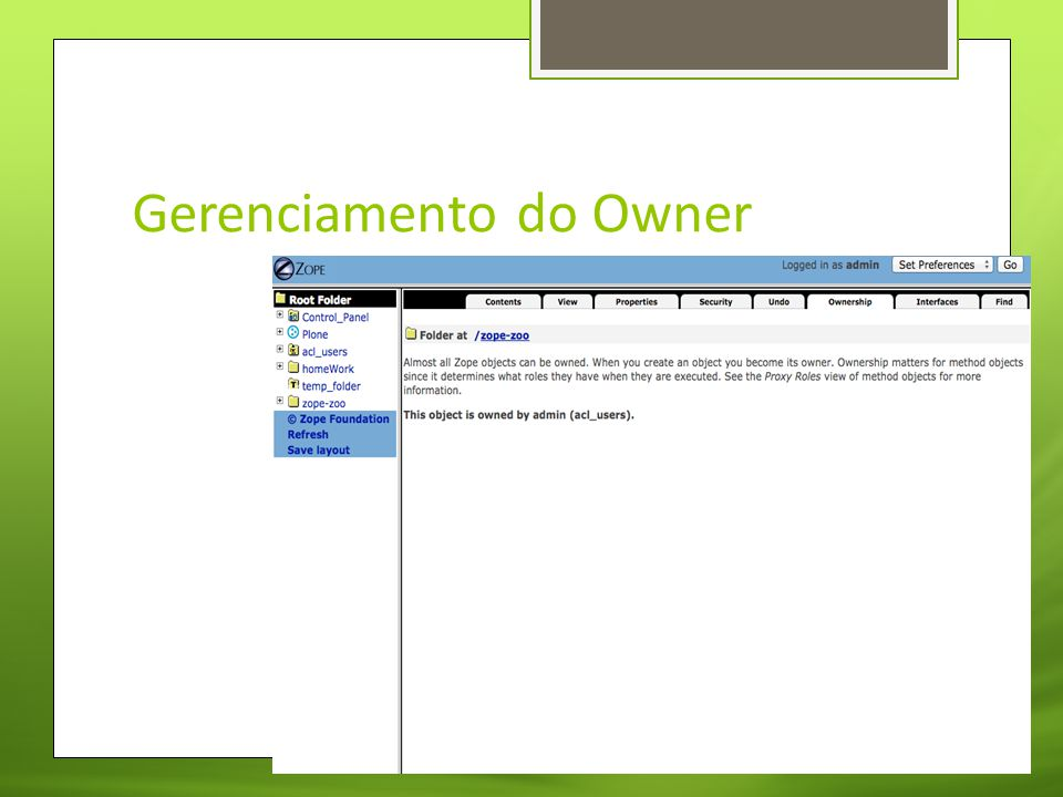 Gerenciamento do Owner