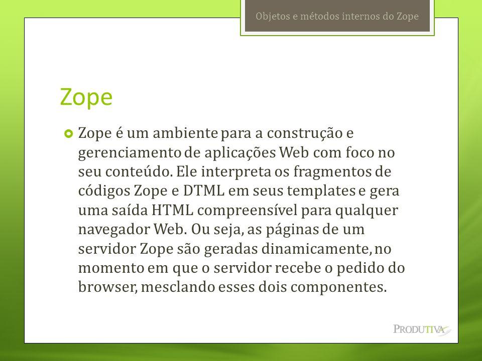 Objetos e métodos internos do Zope