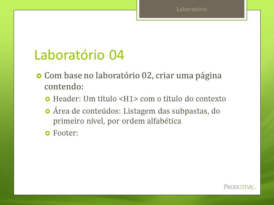 Laboratório 04 Com base no laboratório 02, criar uma página contendo: