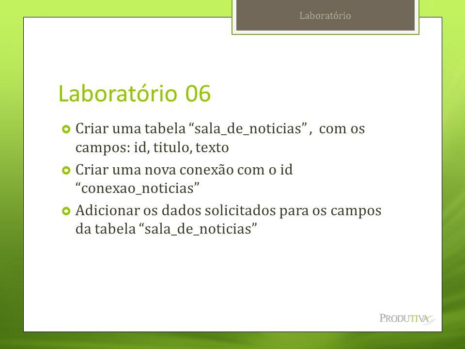 Laboratório Laboratório 06. Criar uma tabela sala_de_noticias , com os campos: id, titulo, texto.