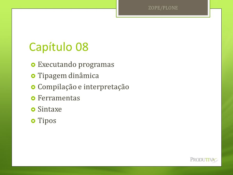 Capítulo 08 Executando programas Tipagem dinâmica