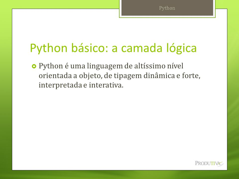 Python básico: a camada lógica