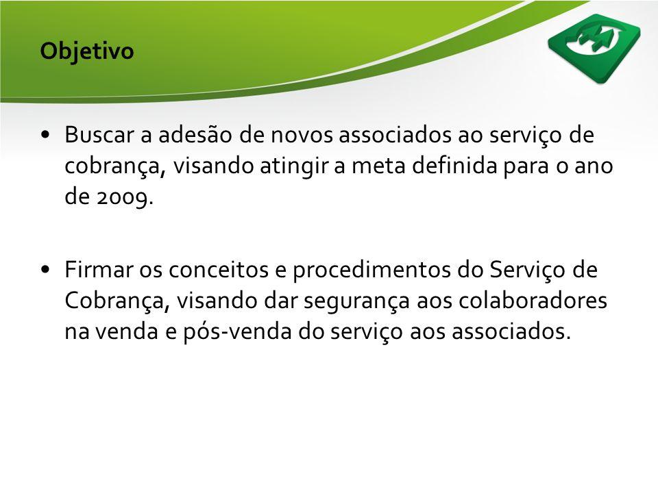 Objetivo Buscar a adesão de novos associados ao serviço de cobrança, visando atingir a meta definida para o ano de 2009.
