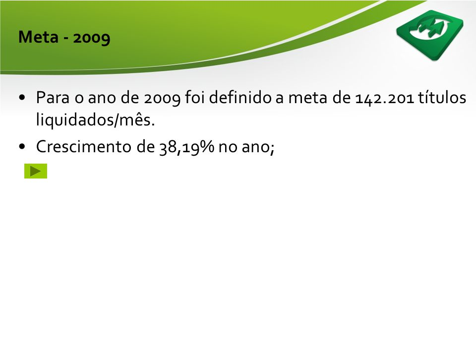 Meta - 2009 Para o ano de 2009 foi definido a meta de 142.201 títulos liquidados/mês.