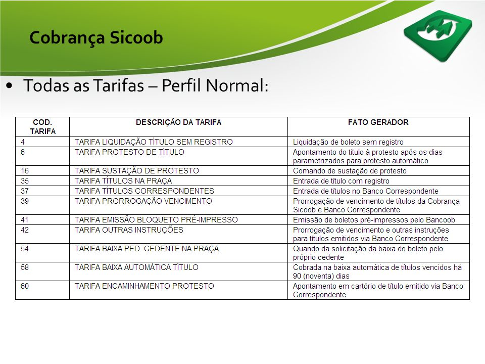 Cobrança Sicoob Todas as Tarifas – Perfil Normal: