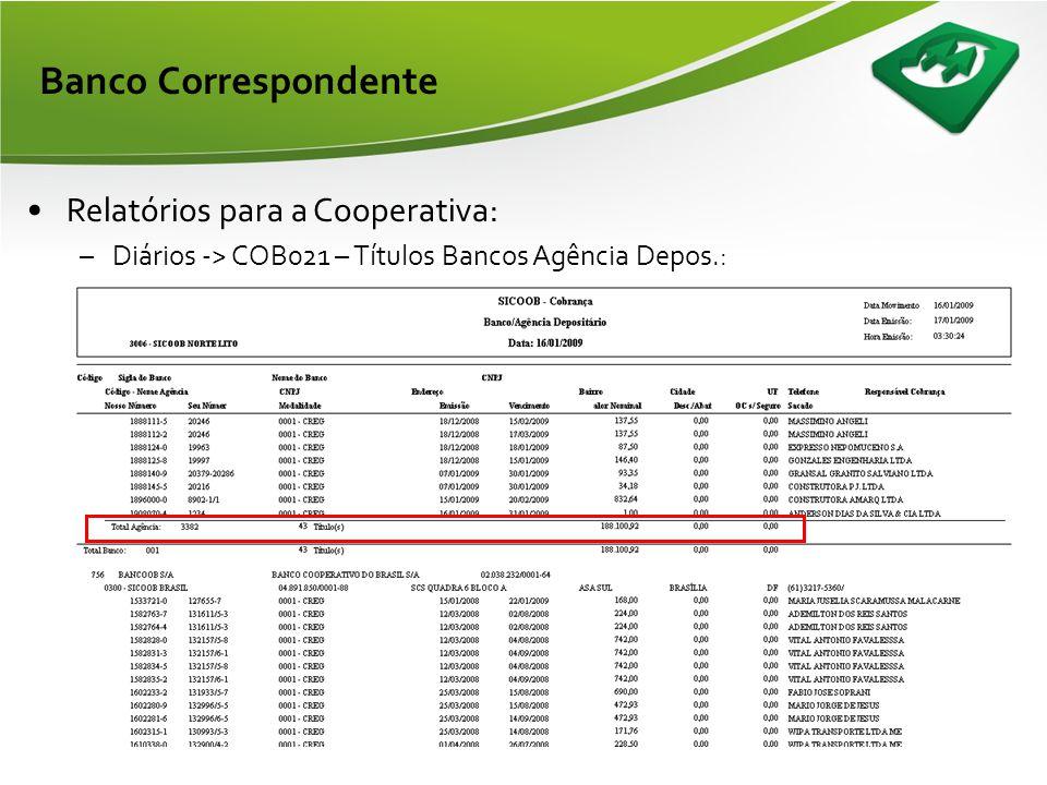 Banco Correspondente Relatórios para a Cooperativa: