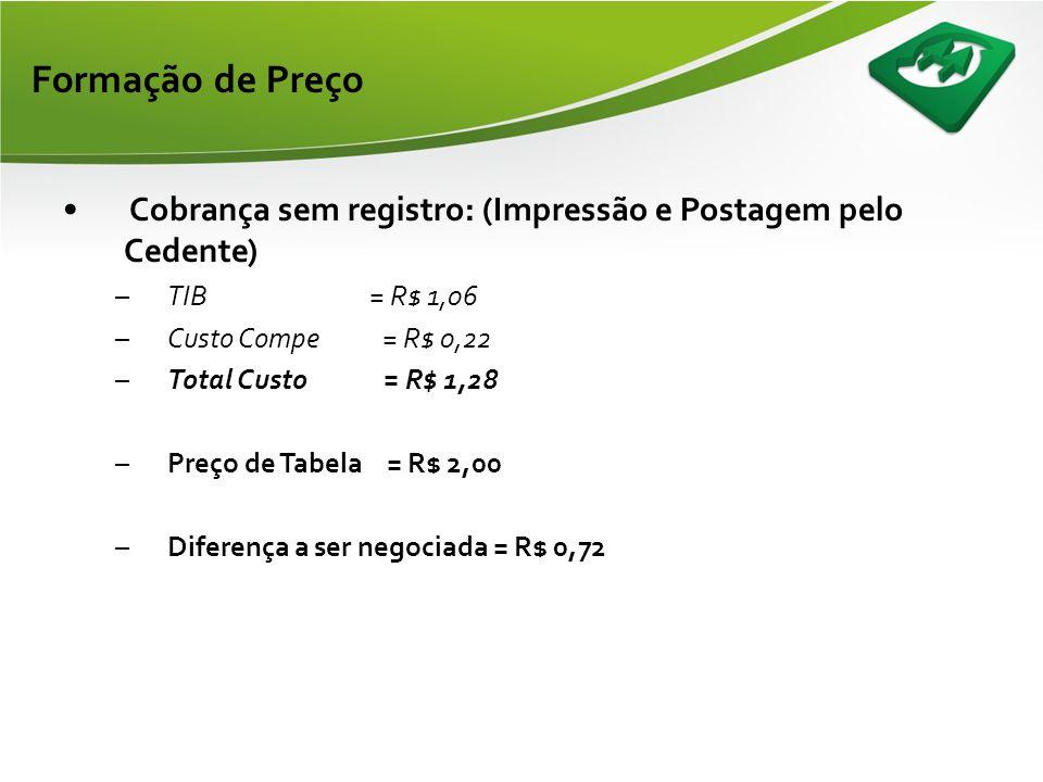 Formação de Preço Cobrança sem registro: (Impressão e Postagem pelo Cedente) TIB = R$ 1,06.