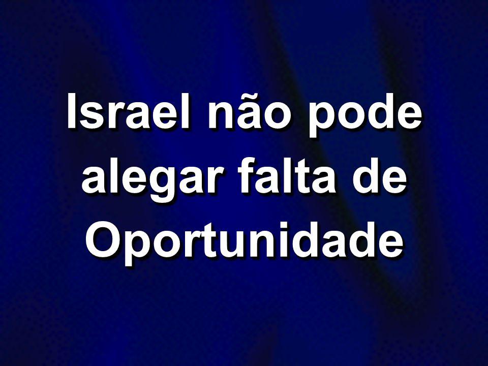 Israel não pode alegar falta de Oportunidade