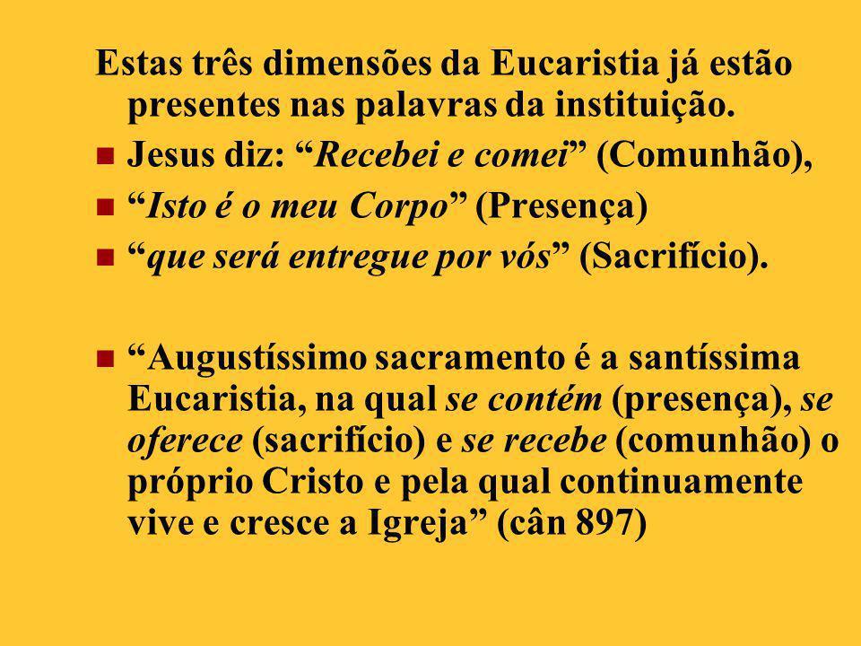 Estas três dimensões da Eucaristia já estão presentes nas palavras da instituição.