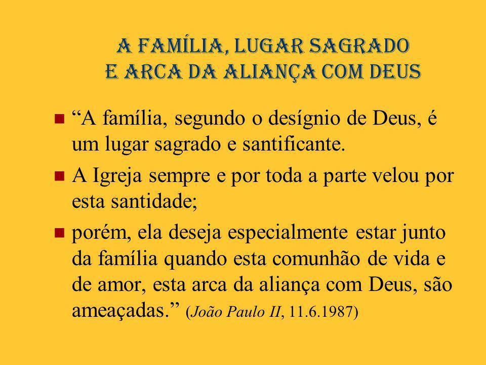 A família, lugar sagrado e arca da aliança com Deus