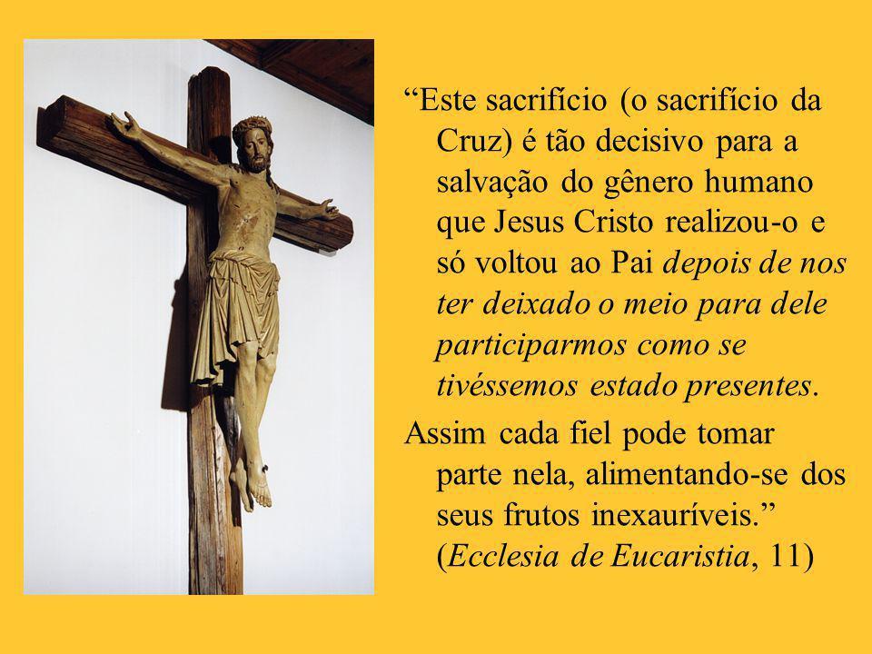 Este sacrifício (o sacrifício da Cruz) é tão decisivo para a salvação do gênero humano que Jesus Cristo realizou-o e só voltou ao Pai depois de nos ter deixado o meio para dele participarmos como se tivéssemos estado presentes.
