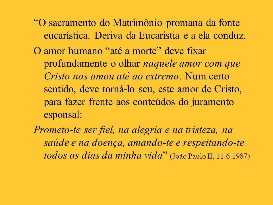 O sacramento do Matrimônio promana da fonte eucarística