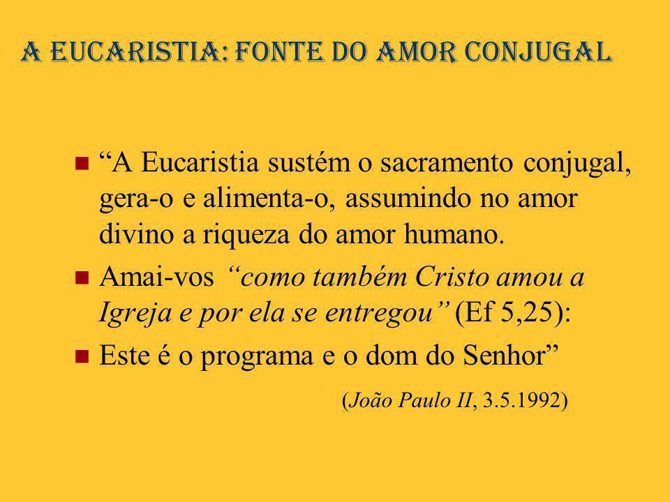 A Eucaristia: fonte do amor conjugal