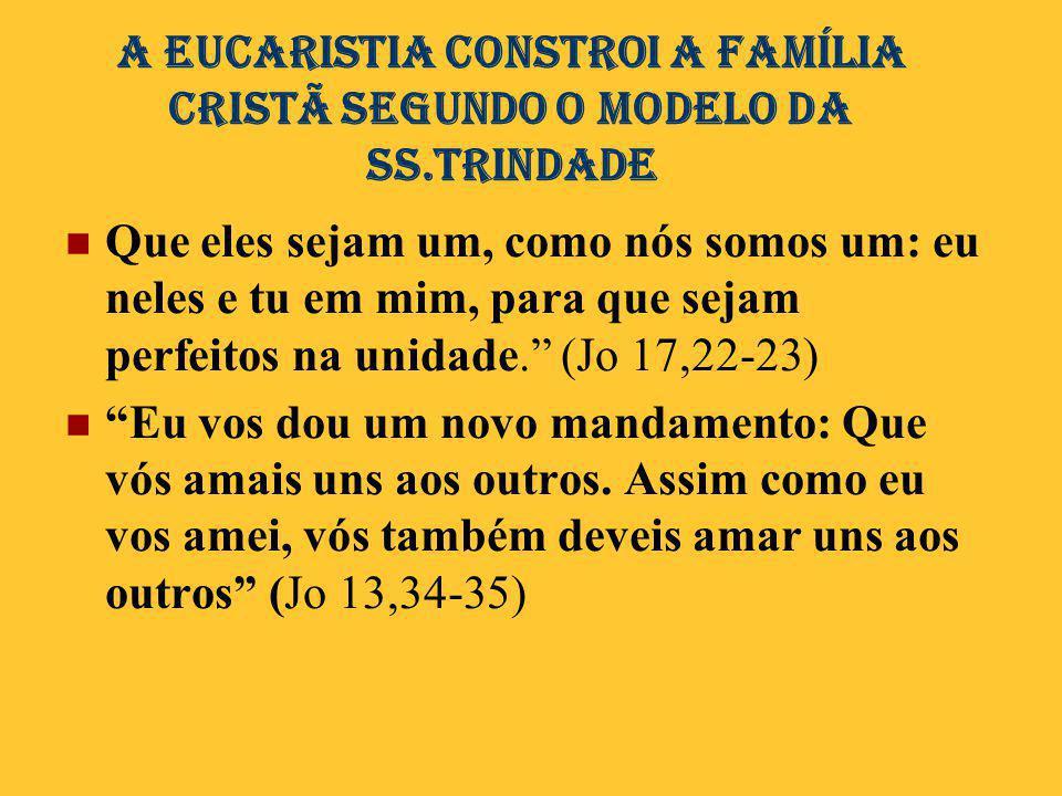 A Eucaristia conStroi A família CRISTÃ SEGUNDO O MODELO DA SS.TRINDADE