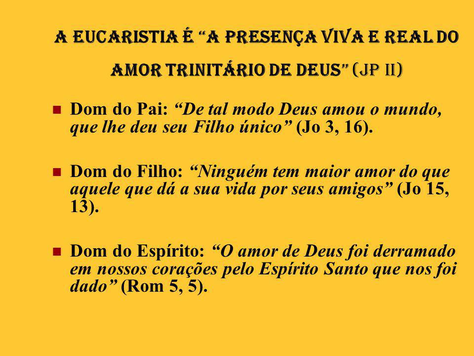 A Eucaristia é a presença viva e real do amor trinitário de Deus (JP II)