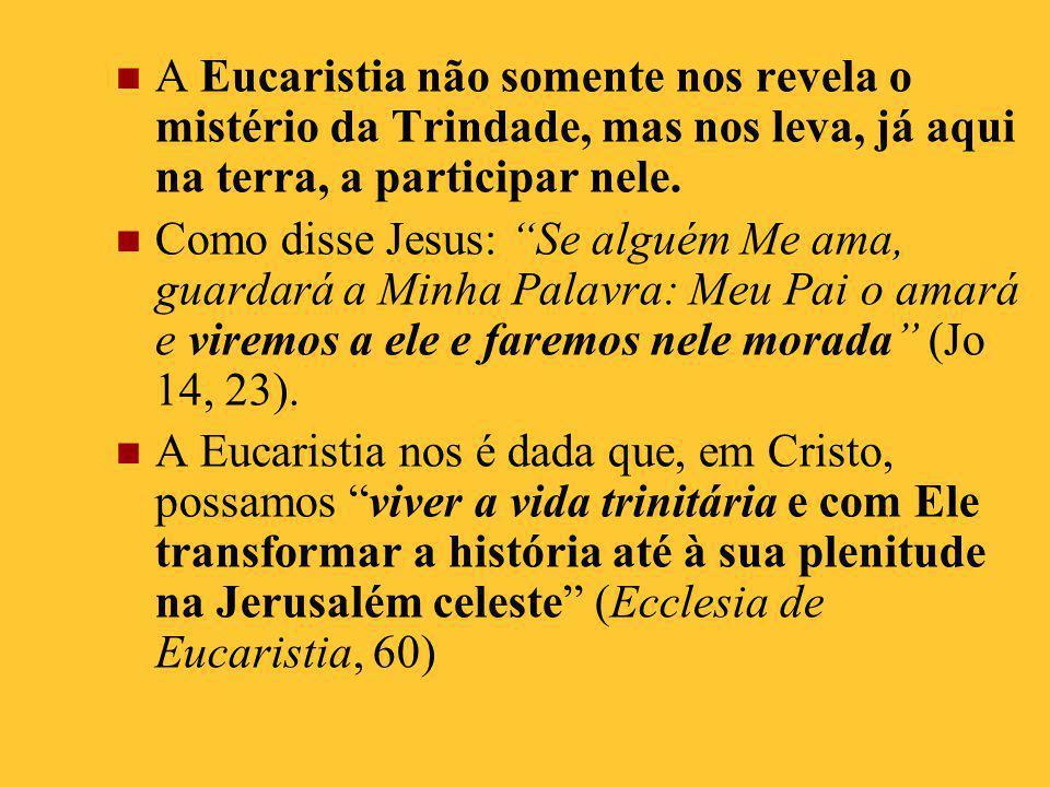 A Eucaristia não somente nos revela o mistério da Trindade, mas nos leva, já aqui na terra, a participar nele.