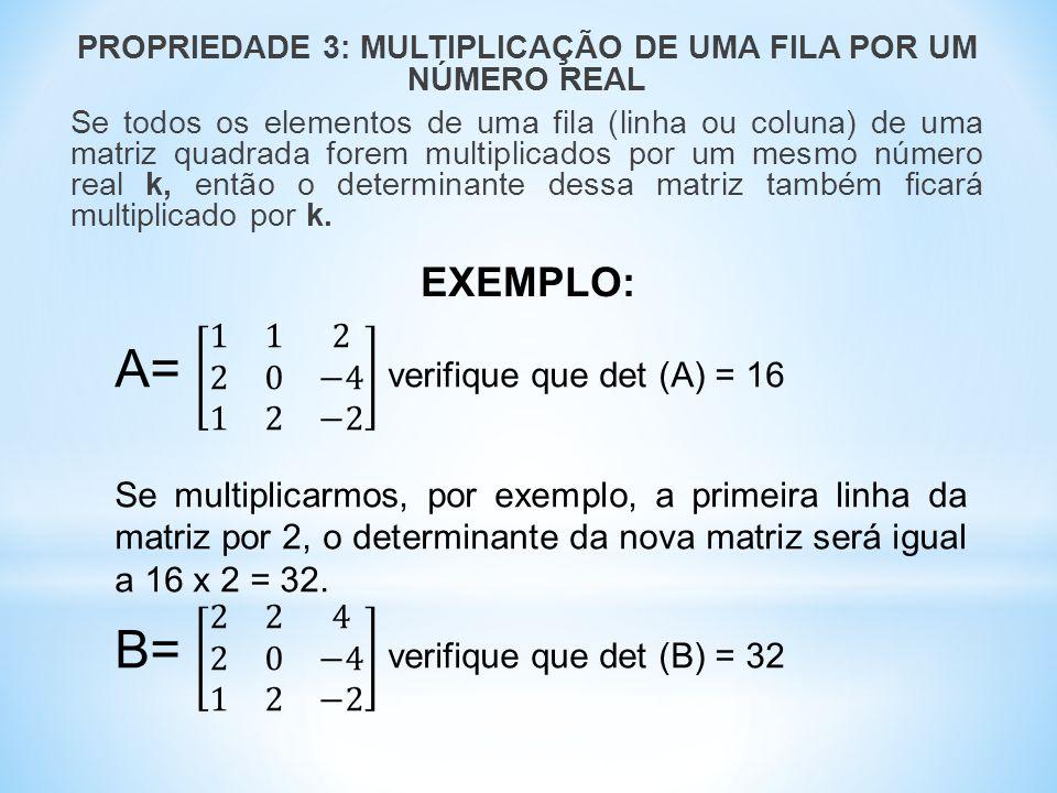 A= 1 1 2 2 0 −4 1 2 −2 verifique que det (A) = 16