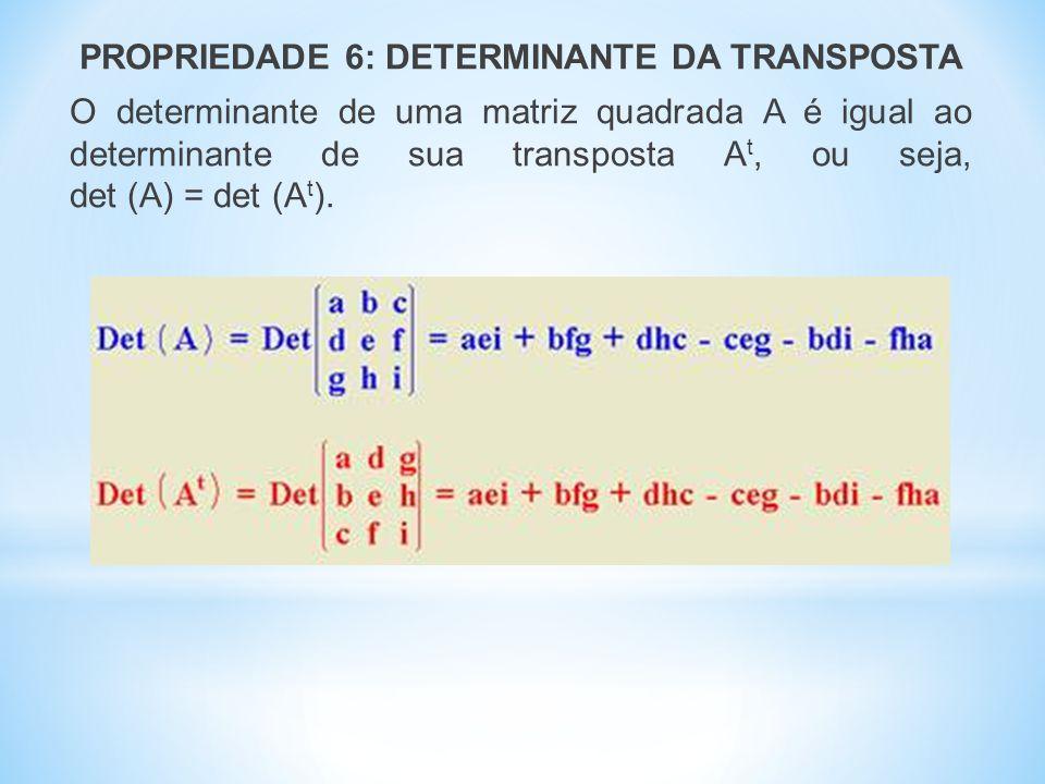 PROPRIEDADE 6: DETERMINANTE DA TRANSPOSTA O determinante de uma matriz quadrada A é igual ao determinante de sua transposta At, ou seja, det (A) = det (At).