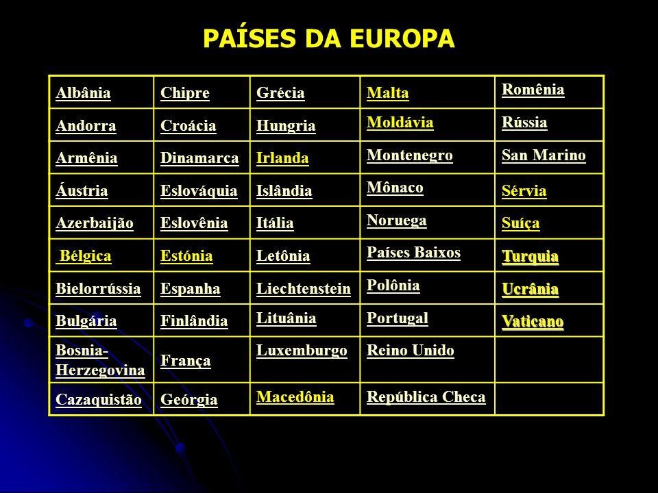 PAÍSES DA EUROPA Albânia Chipre Grécia Malta Romênia Andorra Croácia