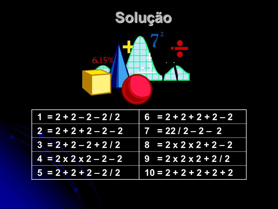 Solução 1 = 2 + 2 – 2 – 2 / 2. 6 = 2 + 2 + 2 + 2 – 2. 2 = 2 + 2 + 2 – 2 – 2. 7 = 22 / 2 – 2 – 2.