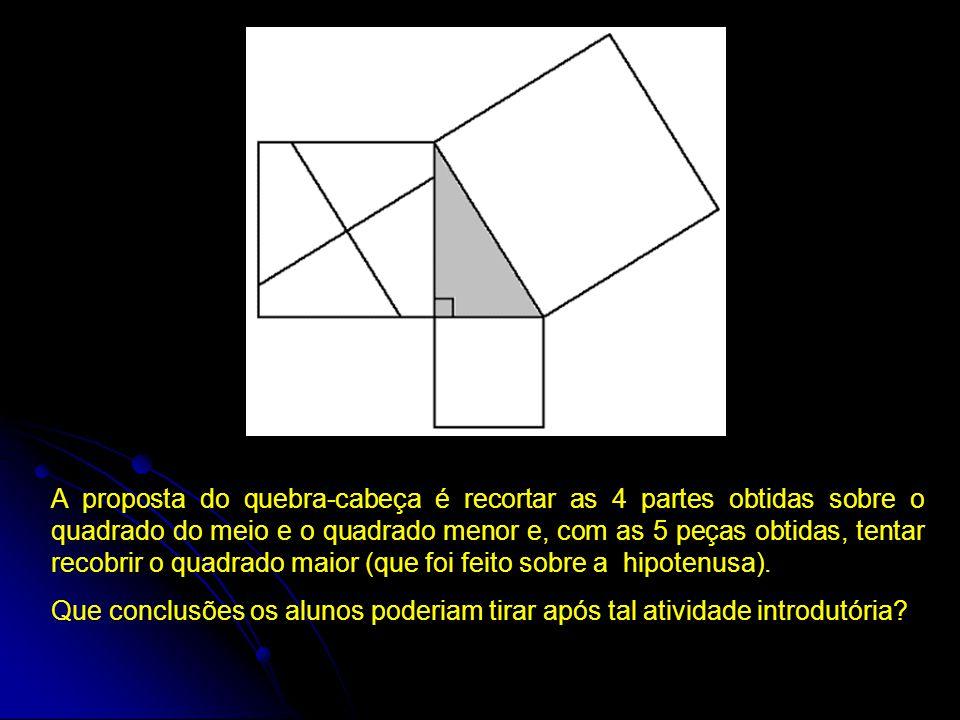 A proposta do quebra-cabeça é recortar as 4 partes obtidas sobre o quadrado do meio e o quadrado menor e, com as 5 peças obtidas, tentar recobrir o quadrado maior (que foi feito sobre a hipotenusa).