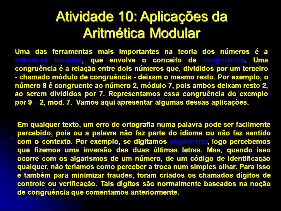 Atividade 10: Aplicações da Aritmética Modular