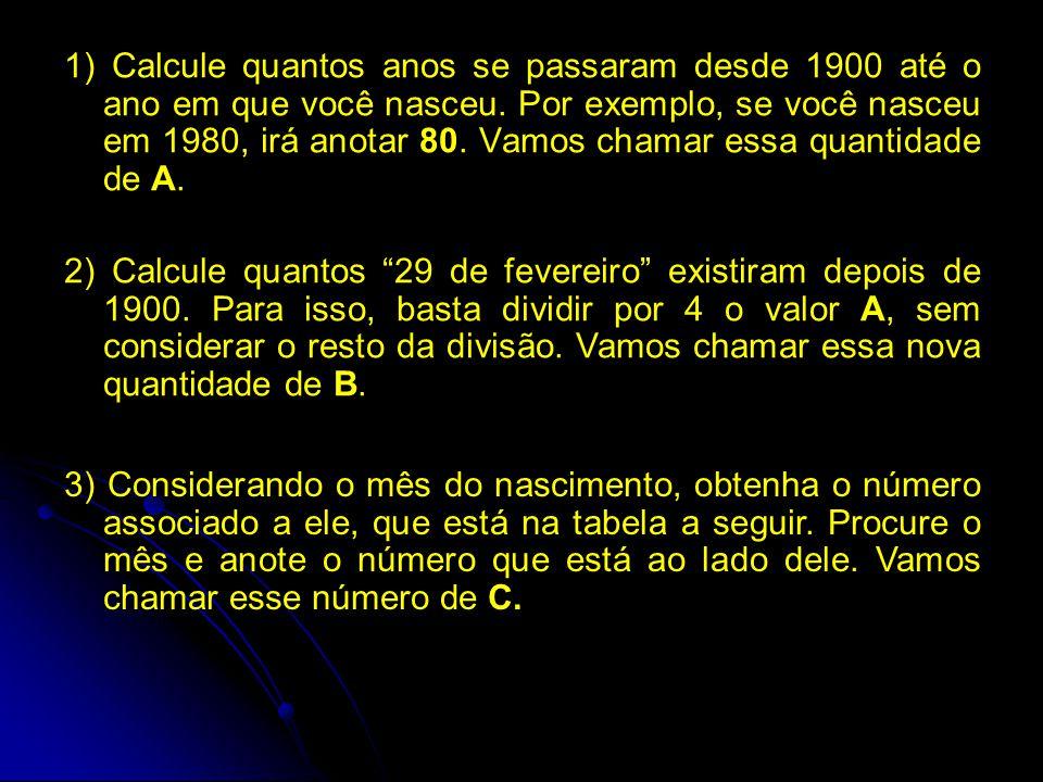 1) Calcule quantos anos se passaram desde 1900 até o ano em que você nasceu. Por exemplo, se você nasceu em 1980, irá anotar 80. Vamos chamar essa quantidade de A.
