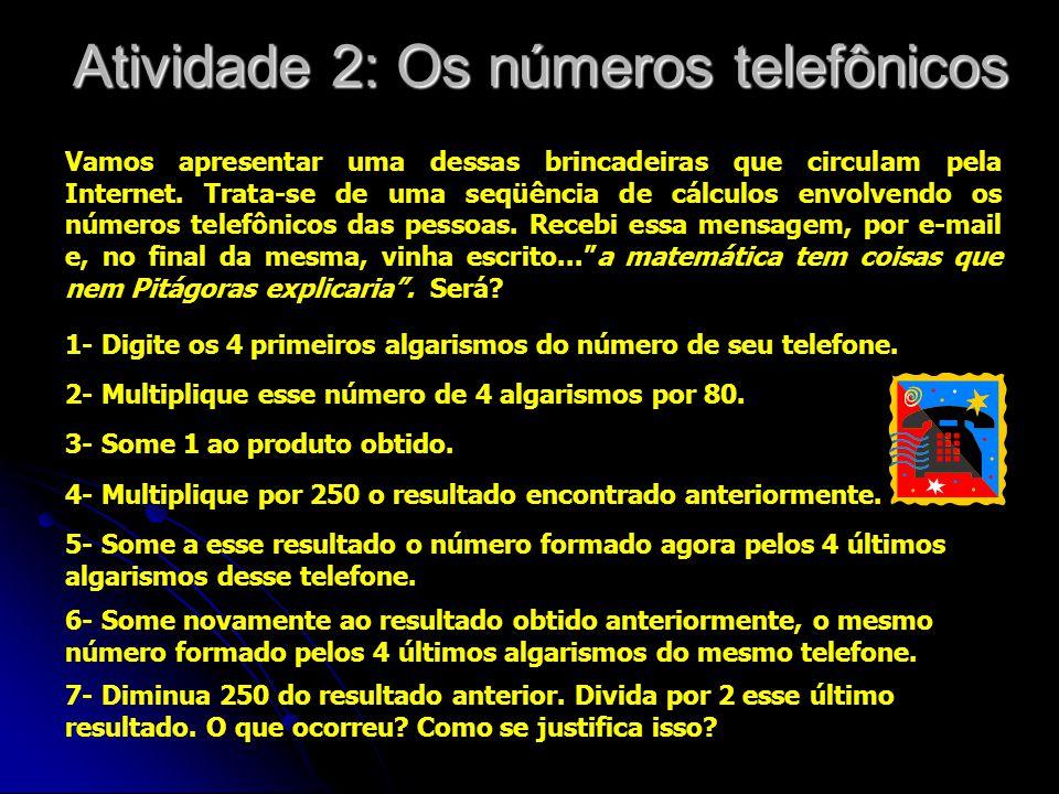 Atividade 2: Os números telefônicos