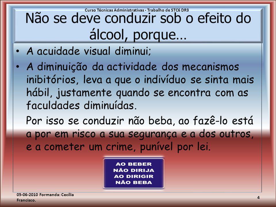 Não se deve conduzir sob o efeito do álcool, porque…