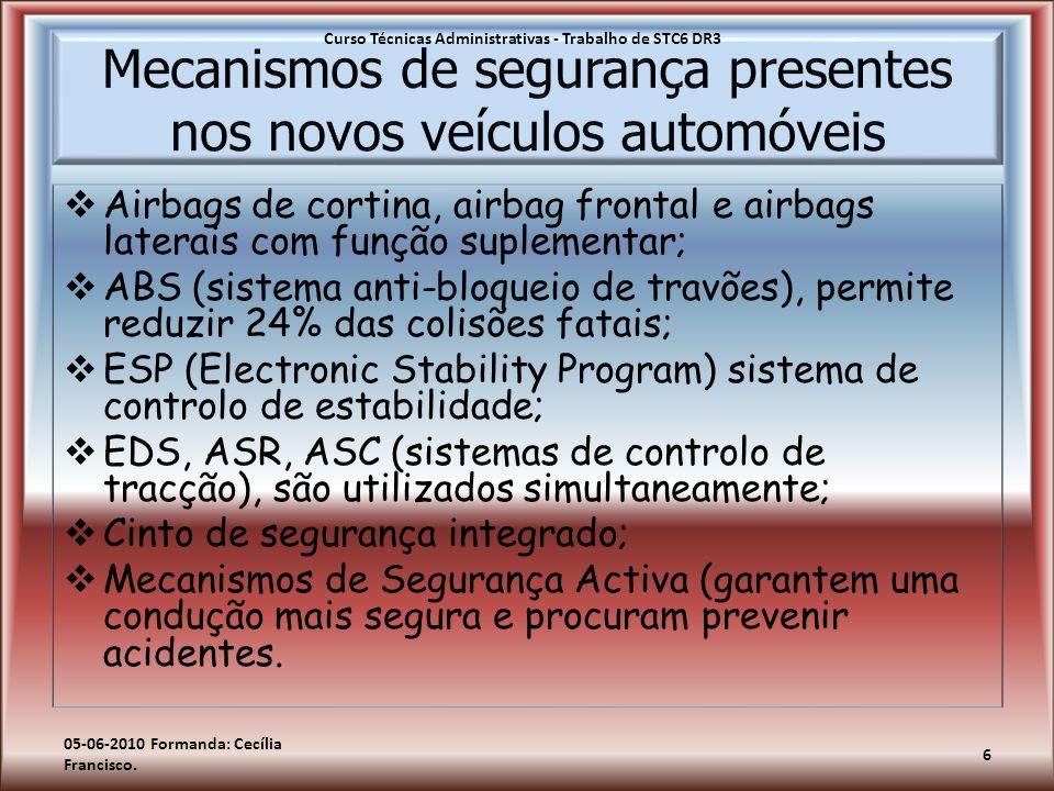Mecanismos de segurança presentes nos novos veículos automóveis