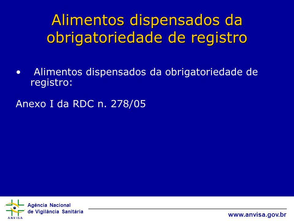 Alimentos dispensados da obrigatoriedade de registro