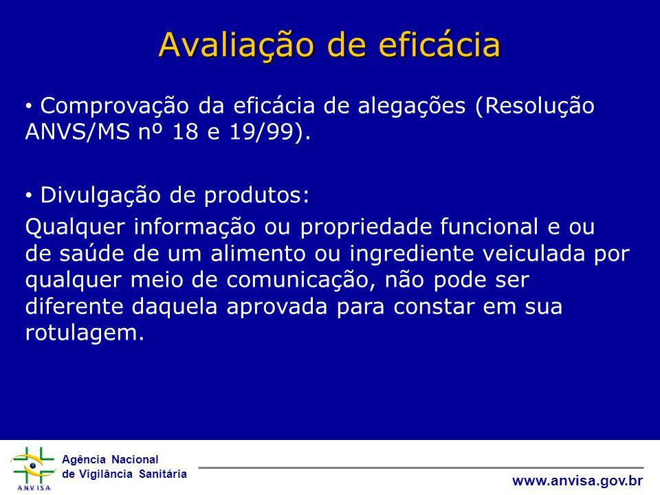 Avaliação de eficácia Comprovação da eficácia de alegações (Resolução ANVS/MS nº 18 e 19/99). Divulgação de produtos: