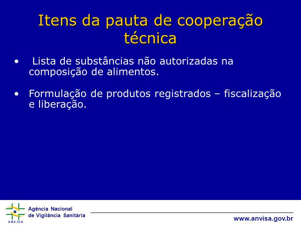 Itens da pauta de cooperação técnica