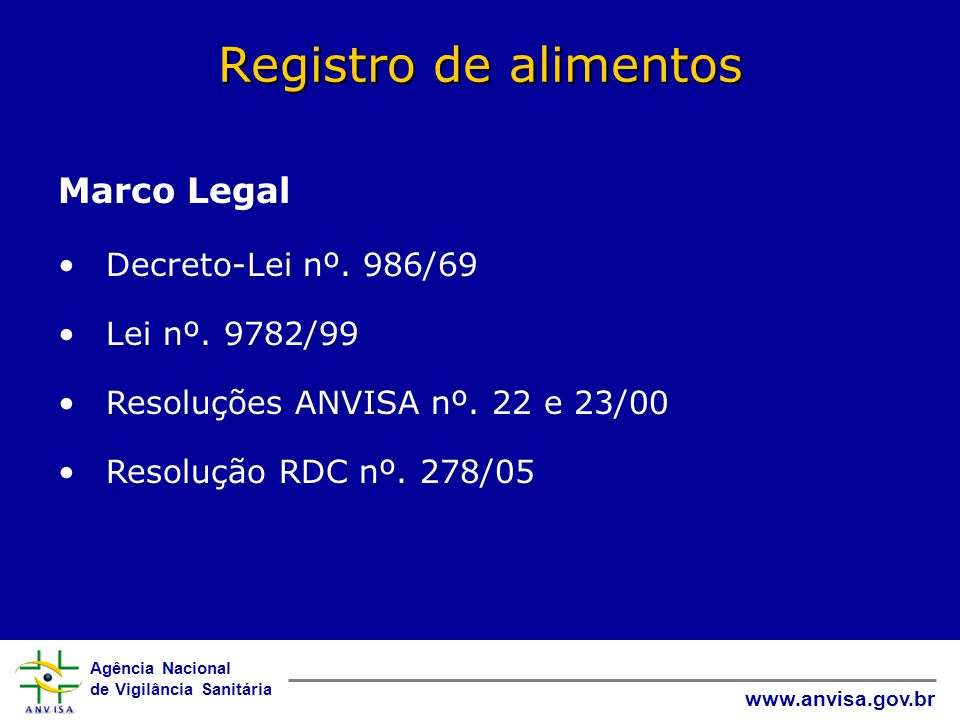 Registro de alimentos Marco Legal Decreto-Lei nº. 986/69
