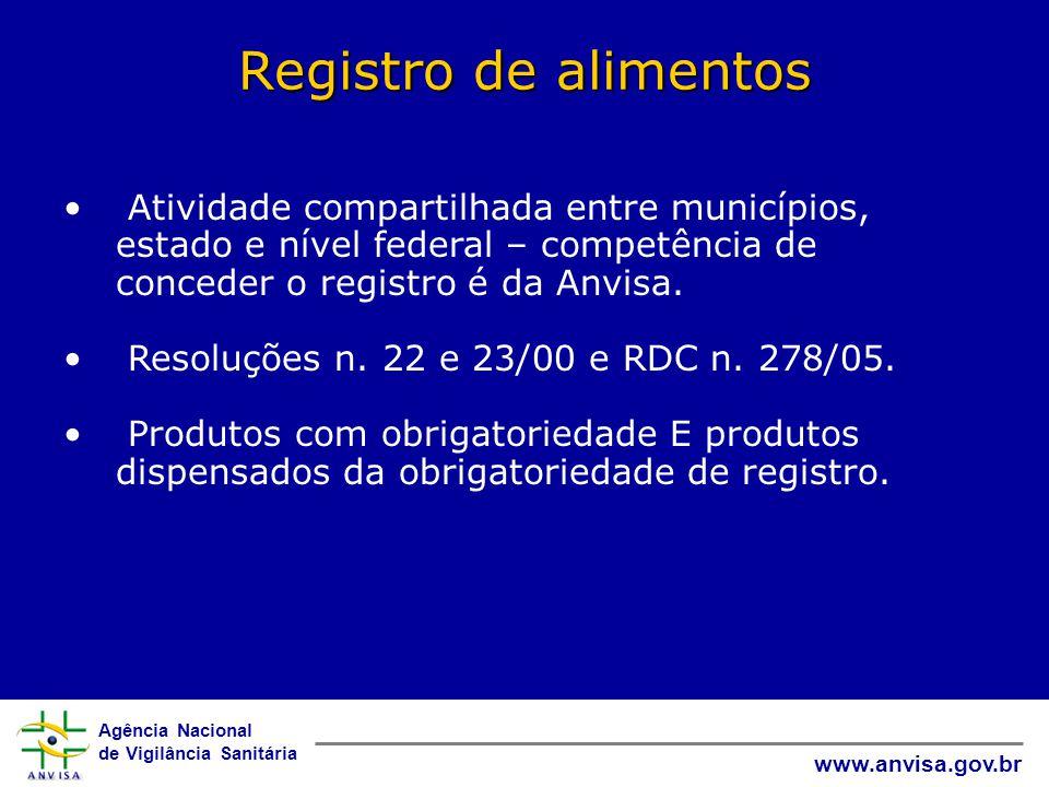 Registro de alimentos Atividade compartilhada entre municípios, estado e nível federal – competência de conceder o registro é da Anvisa.