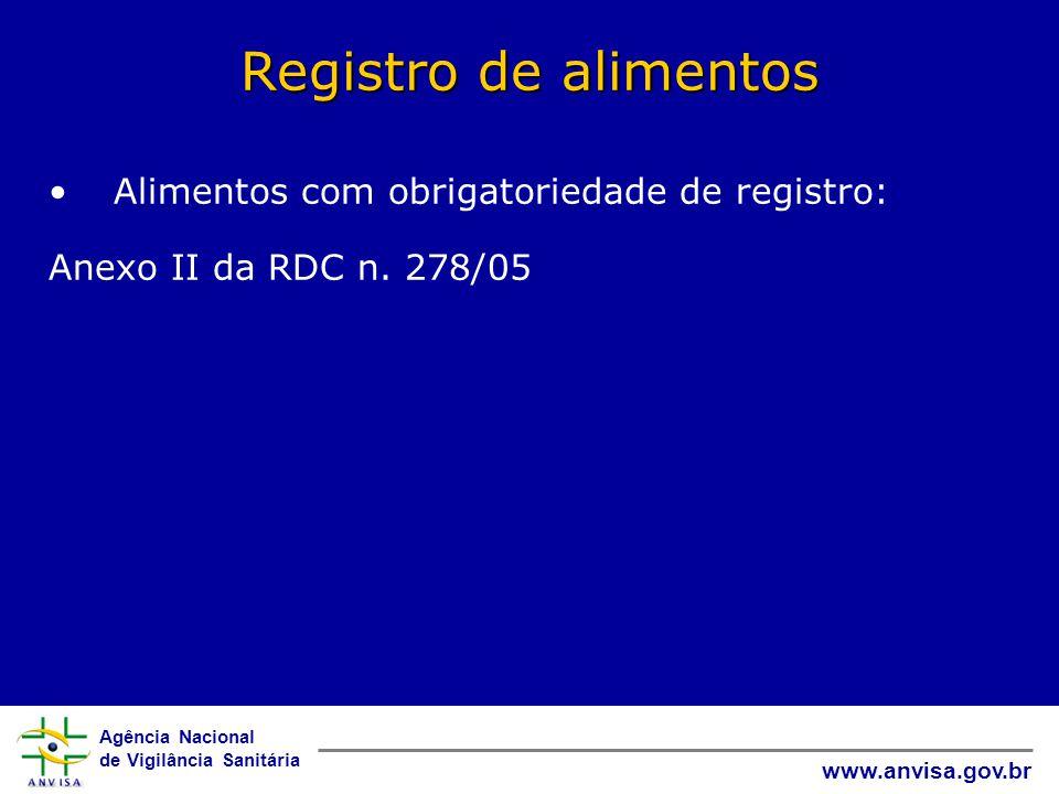 Registro de alimentos Alimentos com obrigatoriedade de registro: