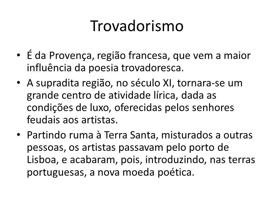 Trovadorismo É da Provença, região francesa, que vem a maior influência da poesia trovadoresca.