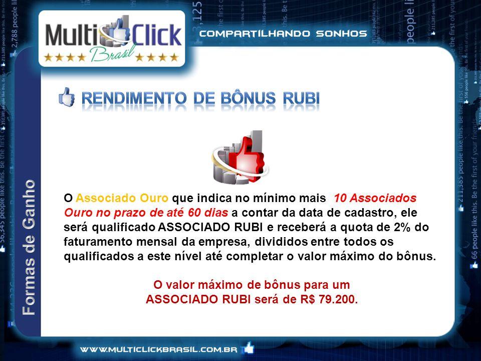 O valor máximo de bônus para um ASSOCIADO RUBI será de R$ 79.200.