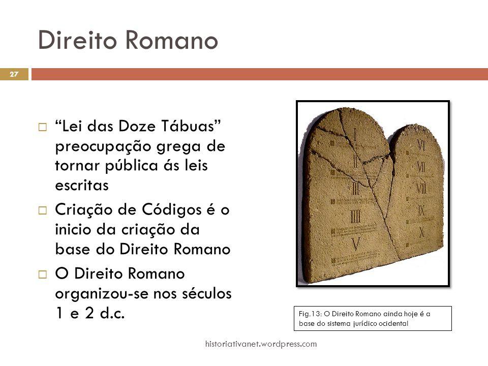 Direito Romano Lei das Doze Tábuas preocupação grega de tornar pública ás leis escritas.