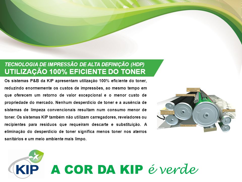 TECNOLOGIA DE IMPRESSÃO DE ALTA DEFINIÇÃO (HDP) UTILIZAÇÃO 100% EFICIENTE DO TONER