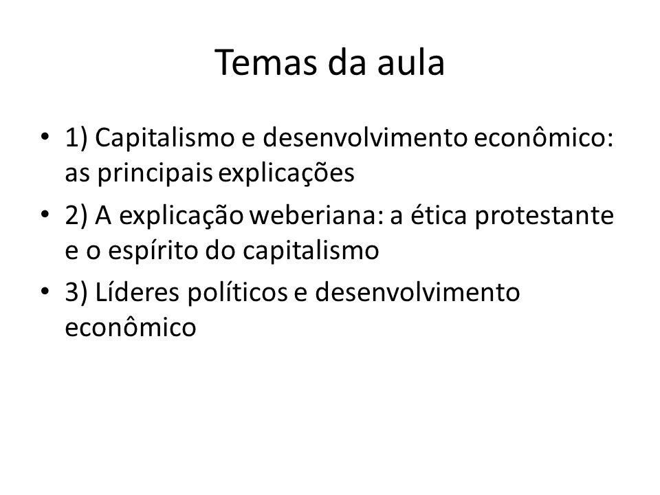 Temas da aula 1) Capitalismo e desenvolvimento econômico: as principais explicações.