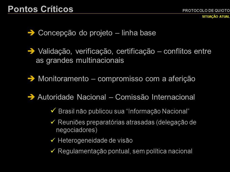 Pontos Críticos Concepção do projeto – linha base