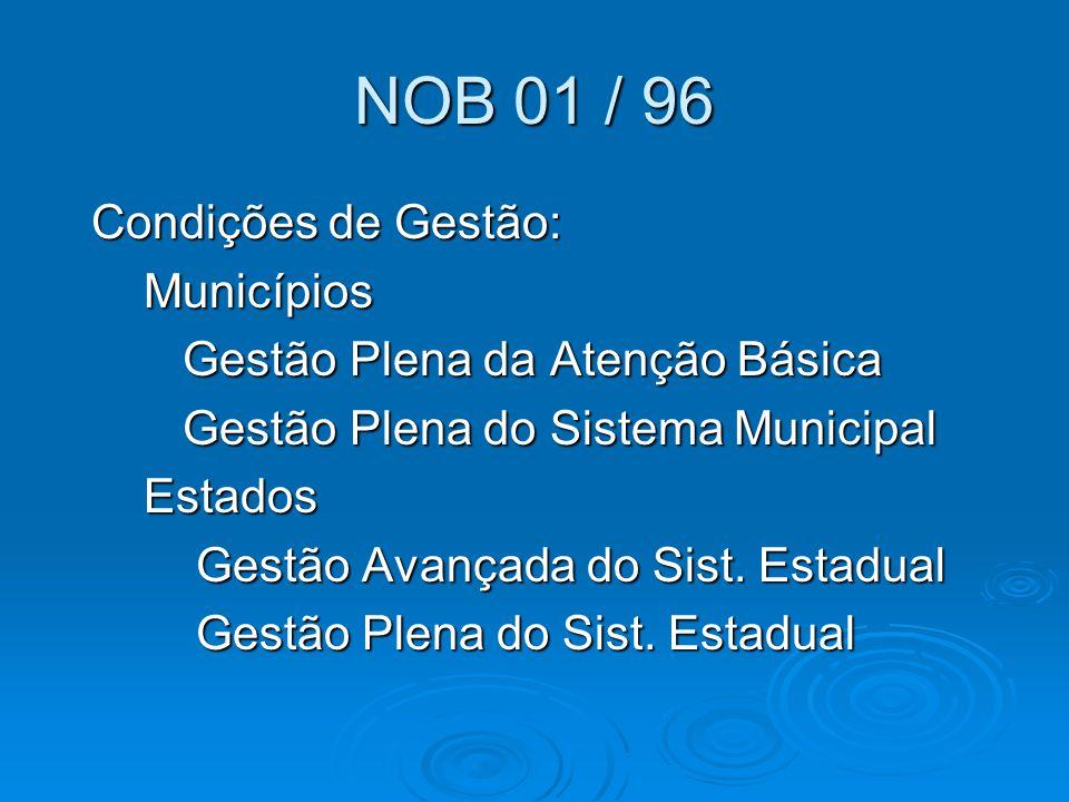 NOB 01 / 96 Condições de Gestão: Municípios