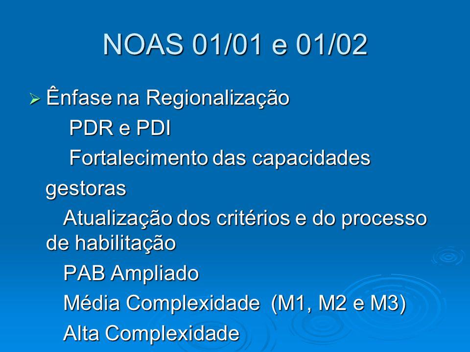 NOAS 01/01 e 01/02 Ênfase na Regionalização PDR e PDI