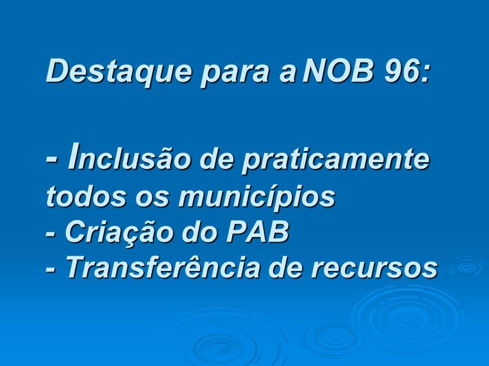 Destaque para a NOB 96: - Inclusão de praticamente todos os municípios - Criação do PAB - Transferência de recursos