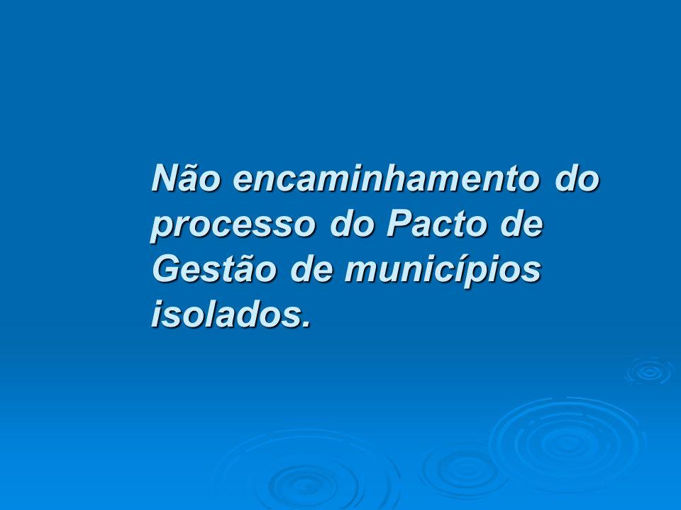 Não encaminhamento do processo do Pacto de Gestão de municípios isolados.
