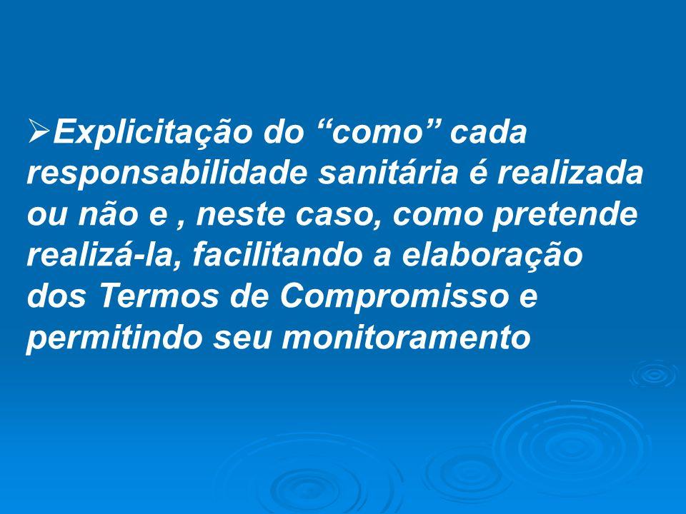 Explicitação do como cada responsabilidade sanitária é realizada ou não e , neste caso, como pretende realizá-la, facilitando a elaboração dos Termos de Compromisso e permitindo seu monitoramento