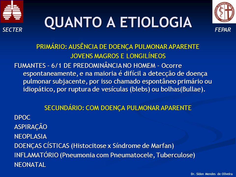 QUANTO A ETIOLOGIA PRIMÁRIO: AUSÊNCIA DE DOENÇA PULMONAR APARENTE